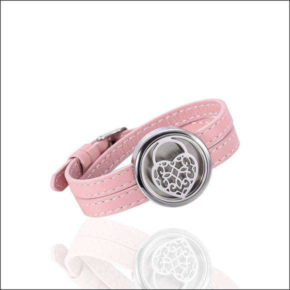 Pink Stainless Steel Genuine Leather Aromatherapy/Essential Oil Diffuser Bracelet - Adelene Green