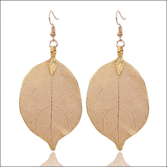 Real Aspen Leaf Earrings- Gold, Rose Gold or Silver Filigree Plated - Adelene Green