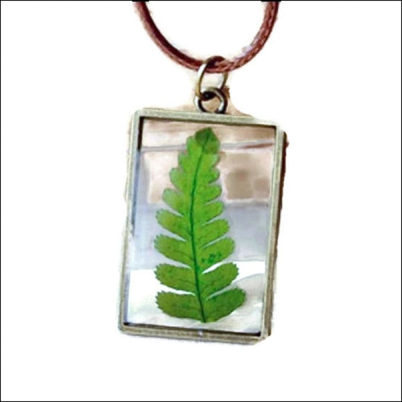 Real Dried Christmas Fern (Polystichum) Herbarium Necklace - Adelene Green