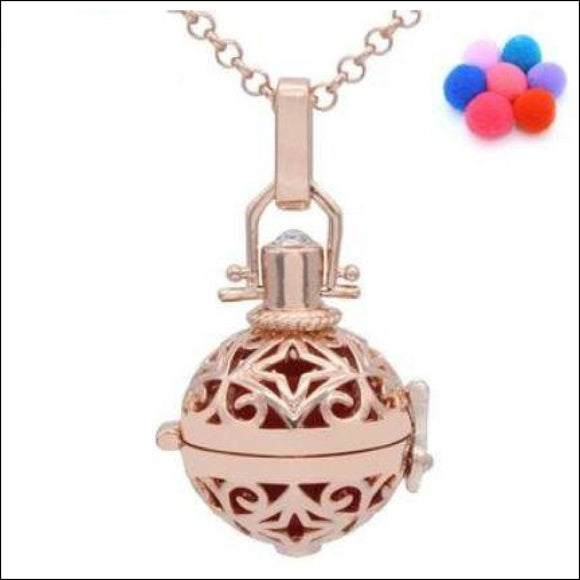 Rose Gold Hollow Star Locket Aromatherapy  Diffuser Necklace - Adelene Green