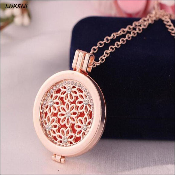 Rose Gold Vintage Locket Essential Oil Diffusing Necklace - Adelene Green