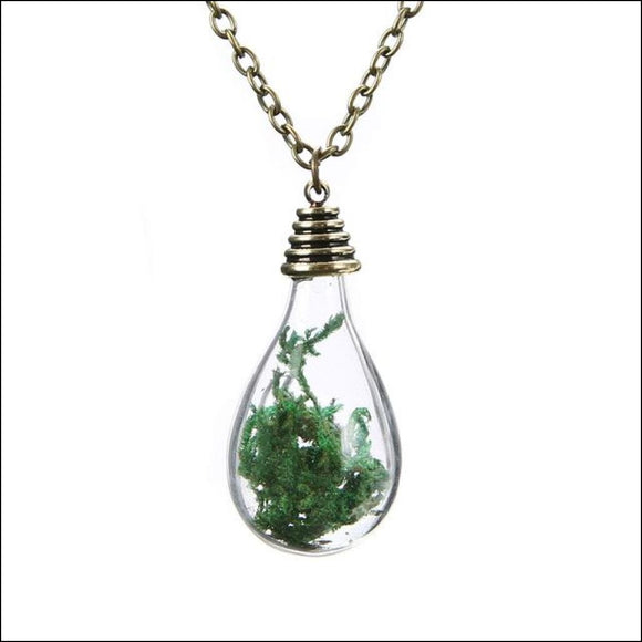 Vintage Wishing Bottle Necklace with Real Dried Seaweed - Adelene Green