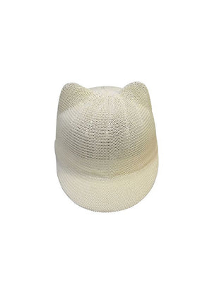 1love2hugs3kisses Straw Kids Hat With Ears White - 1love2hugs3kisses Ibiza