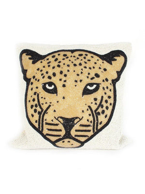 A-La Small Beads Cushion Leopard Head - 1love2hugs3kisses Ibiza