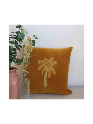 A-La Velvet Cushion Palmtree Yellow - 1love2hugs3kisses Ibiza