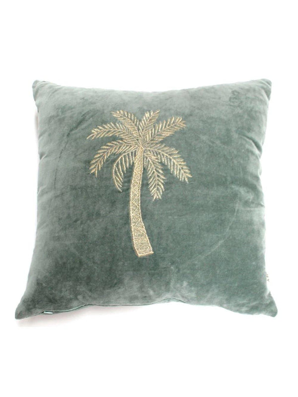 A-La Velvet cushion Palmtree green - 1love2hugs3kisses Ibiza