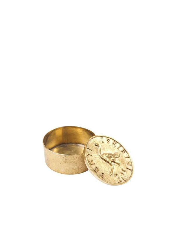 A-La Ostrich Ring + Teeth box Gold