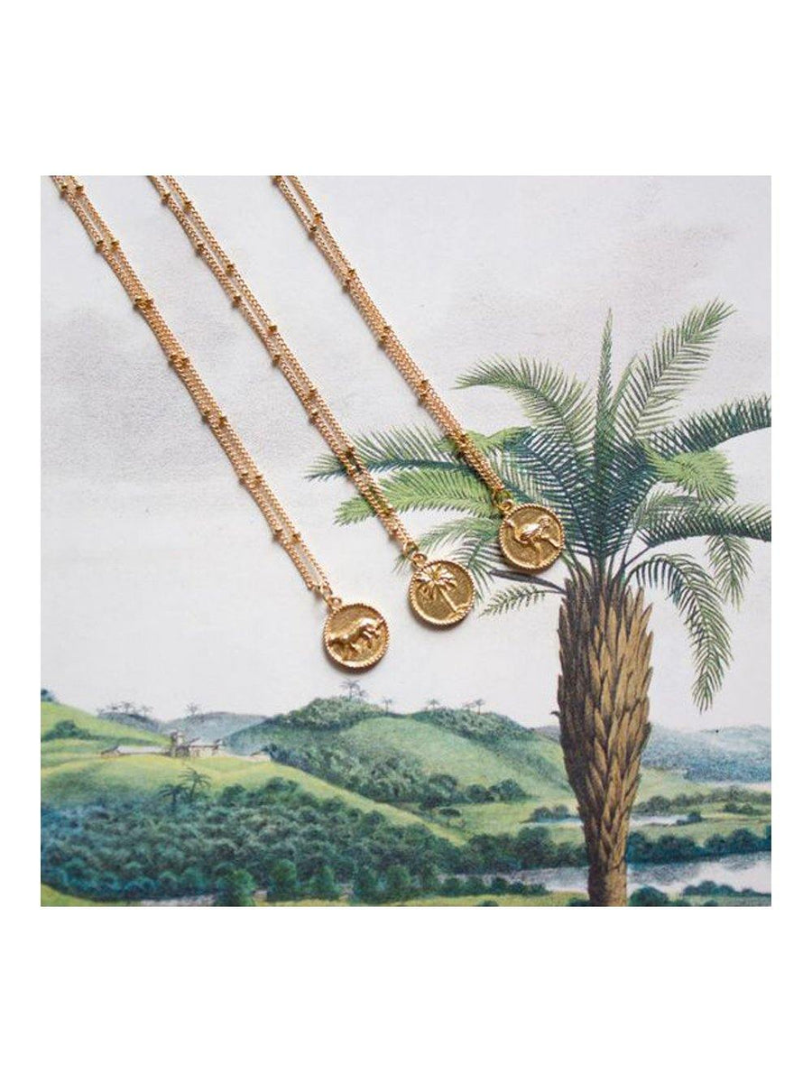 A-La Small Ostrich Coin Necklace Gold - 1love2hugs3kisses Ibiza