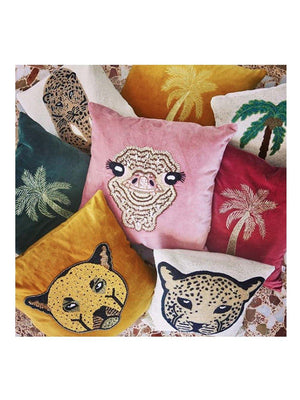 A-La Velvet cushion Palmtree Pink - 1love2hugs3kisses Ibiza