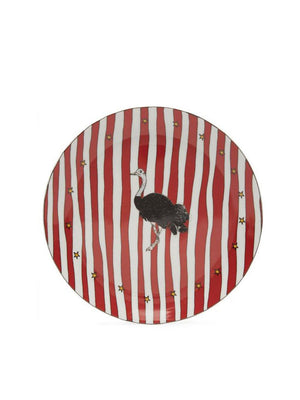 Anna + Nina Ostrich Dessert Plate Large Red white