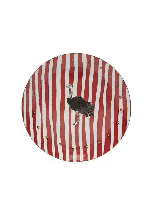 Anna + Nina Ostrich Dessert Plate Large Red white - 1love2hugs3kisses Ibiza