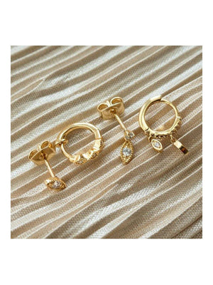 Luv Aj The Nazar Huggies Studs Set Gold - 1love2hugs3kisses Ibiza