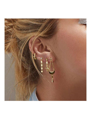 Luv Aj Celestial Hanging Studs Set Gold