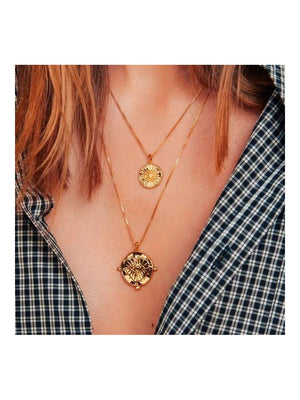 Luv Aj Evil Eye Double Coin Necklace Gold