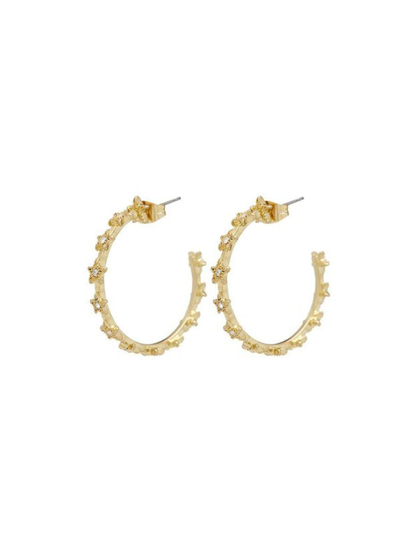 Luv Aj Mini Pave Star Hoops Gold