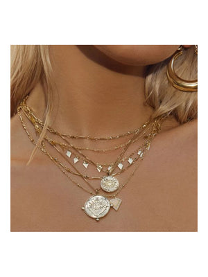 Luv Aj Moonstone Multi Charm Necklace Gold - 1love2hugs3kisses Ibiza