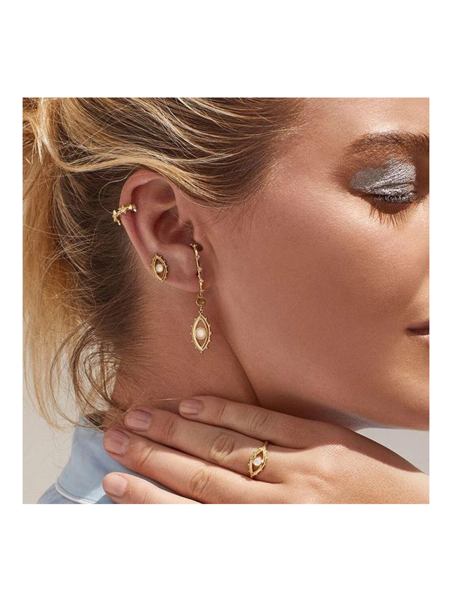Luv Aj Over The Lobe Evil Eye Studs Gold