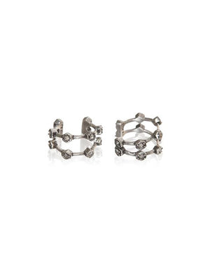 Luv Aj Pave Hex Ear Cuff Silver - 1love2hugs3kisses Ibiza