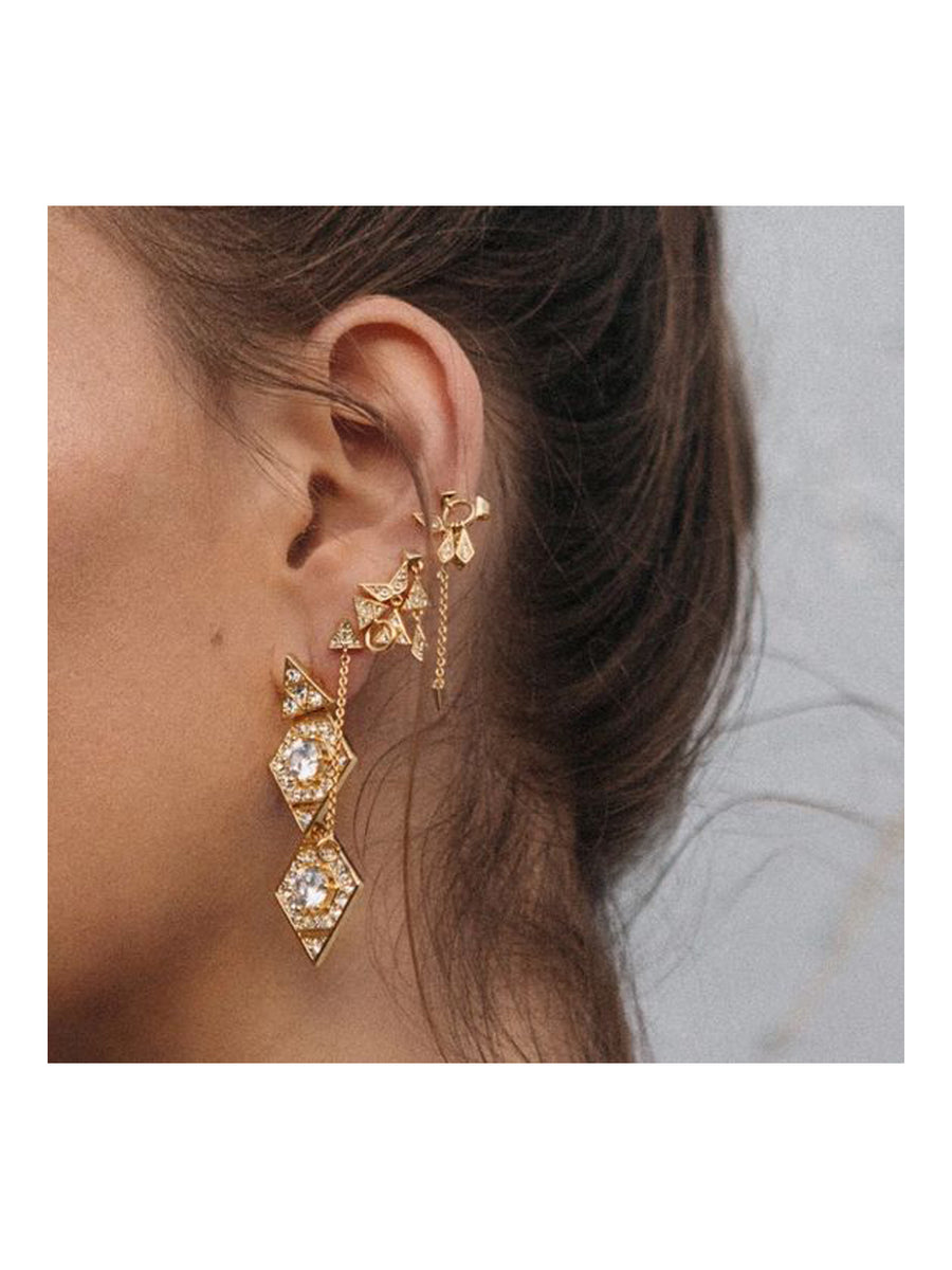 Luv Aj Pave Kite Mixed Earrings Set Gold