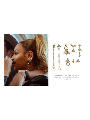 Luv Aj Pave Kite Mixed Earrings Set Gold Beyoncé