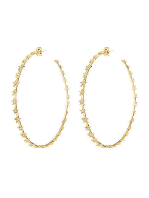 Luv Aj Pave Star Hoops Gold