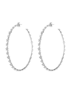 Luv Aj Pave Star Hoops Silver - 1love2hugs3kisses Ibiza