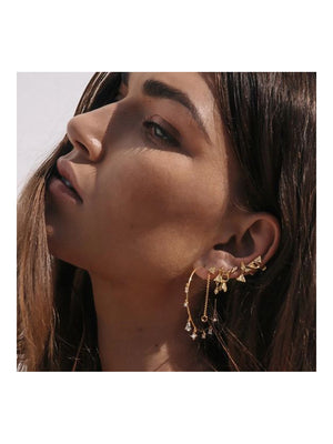 Luv Aj Pave kite Mixed Earring Set Gold