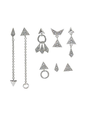 Luv Aj Pave kite Mixed Earring Set Silver - 1love2hugs3kisses Ibiza