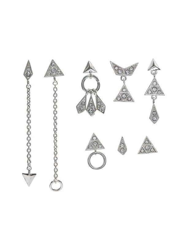 Luv Aj Pave kite Mixed Earring Set Silver