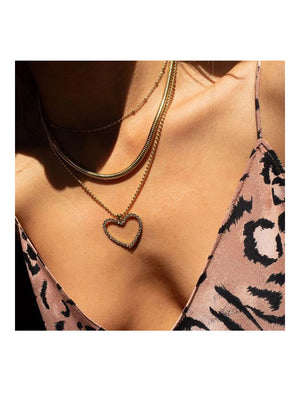 Luv Aj Studded Heart Charm Necklace Gold - 1love2hugs3kisses Ibiza