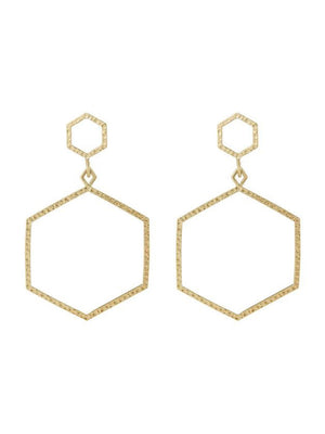 Luv Aj The Hammered Hex Statement Earrings Gold