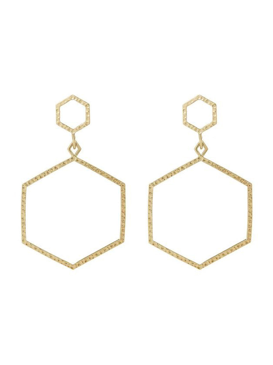 Luv Aj The Hammered Hex Statement Earrings Gold - 1love2hugs3kisses Ibiza