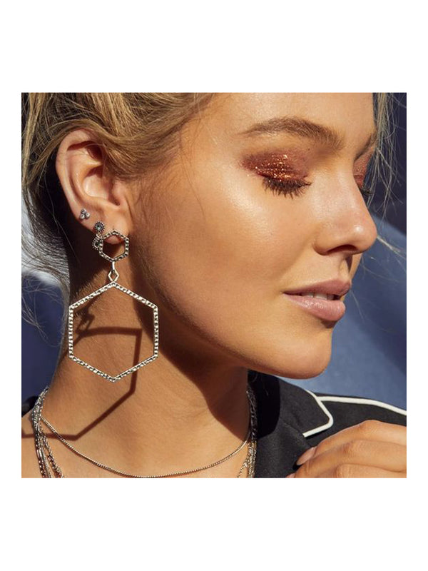 Luv Aj The Hammered Hex Statement Earrings Silver - 1love2hugs3kisses Ibiza