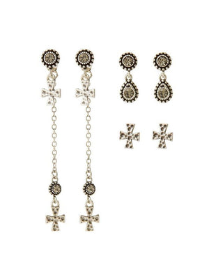 Luv Aj The Moroccan Dangle Cross Studs Set Silver - 1love2hugs3kisses Ibiza