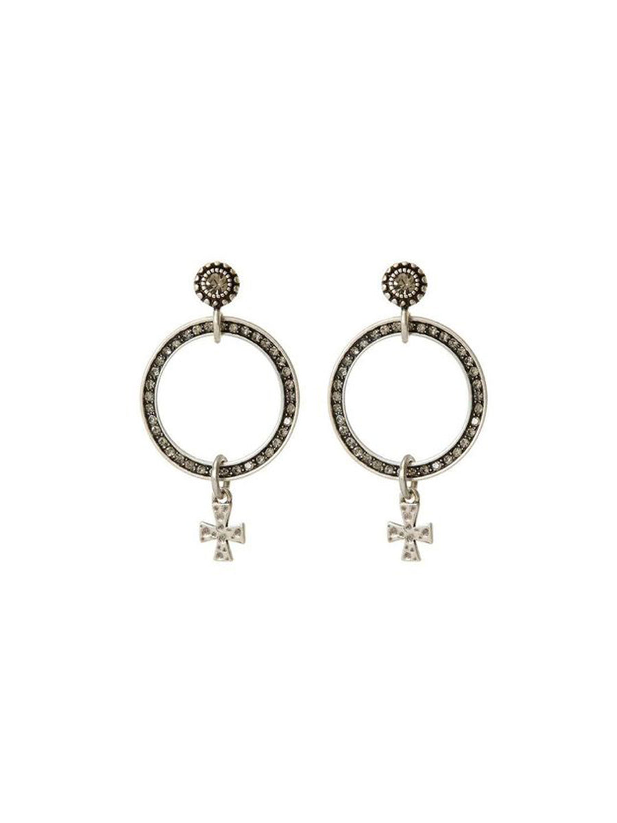 Luv Aj The Moroccan Pave Loop Studs Silver - 1love2hugs3kisses Ibiza