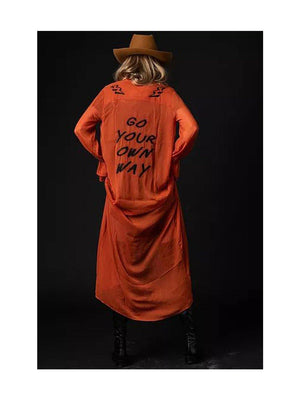 NGHTBRD Go Your Own Way Embroidered Duster Rust - 1love2hugs3kisses ibiza
