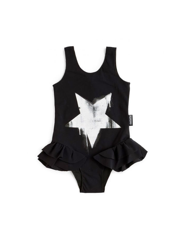 Nununu Falling Star Ruffled Swimsuit Black - 1love2hugs3kisses ibiza