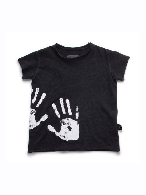 Nununu Hand Print Raw T-shirt Black - 1love2hugs3kisses Ibiza