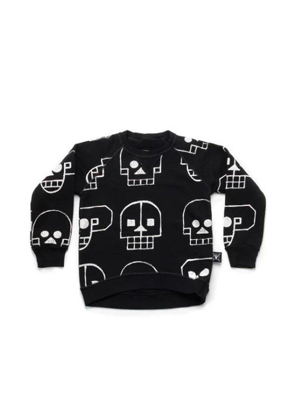Nununu Skull Robot Allover Sweatshirt Black - 1love2hugs3kisses Ibiza