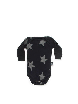 Nununu Star Longsleeve Onesie Black - 1love2hugs3kisses Ibiza