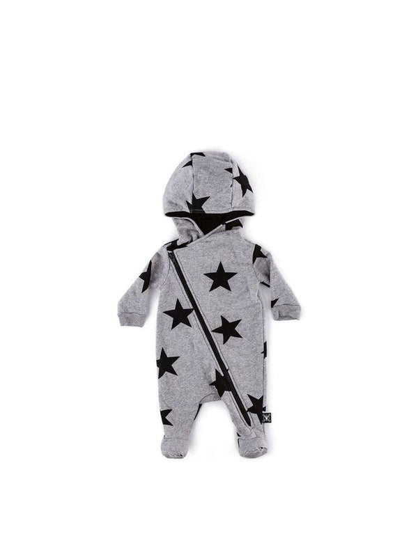 Nununu Star Zip Footed Overall Grey - 1love2hugs3kisses Ibiza