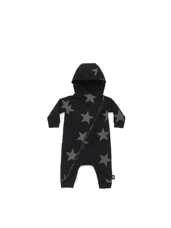 Nununu Star Zipped Hooded Overall Black