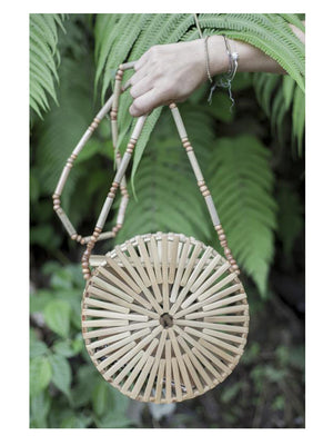 Ratan Round Bag Bamboo Clutch - 1love2hugs3kisses Ibiza