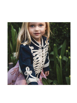 Pre-loved Stella McCartney Kids Vintage Military Jacket Blue Cream -1love2hugs3kisses ibiz
