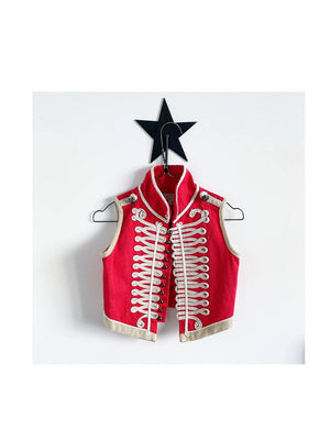 Pre-loved Stella McCartney Kids Vintage Military Waistcoat Red Cream Size 1love2hugs3kisses ibiza
