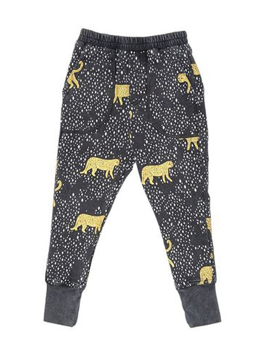Zuttion Trackies Leopard Diamond Washed Black