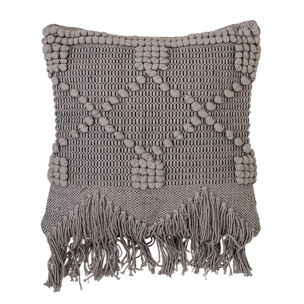 Bloomingville Grey Textured Macrame Knot Cushion