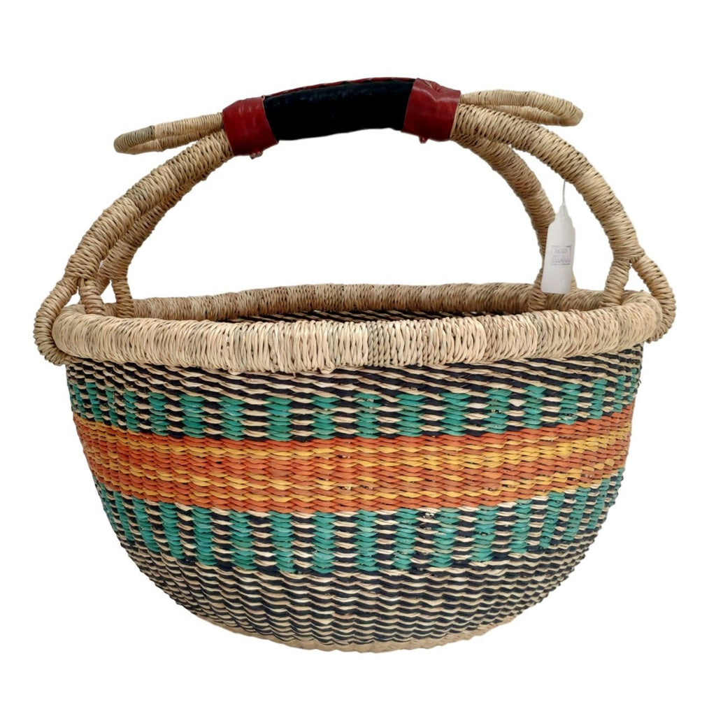 African Basket, Storage Basket, Bolga Basket, Woven Basket, Ethnic, Boho, Medium,  BABAMB132-14