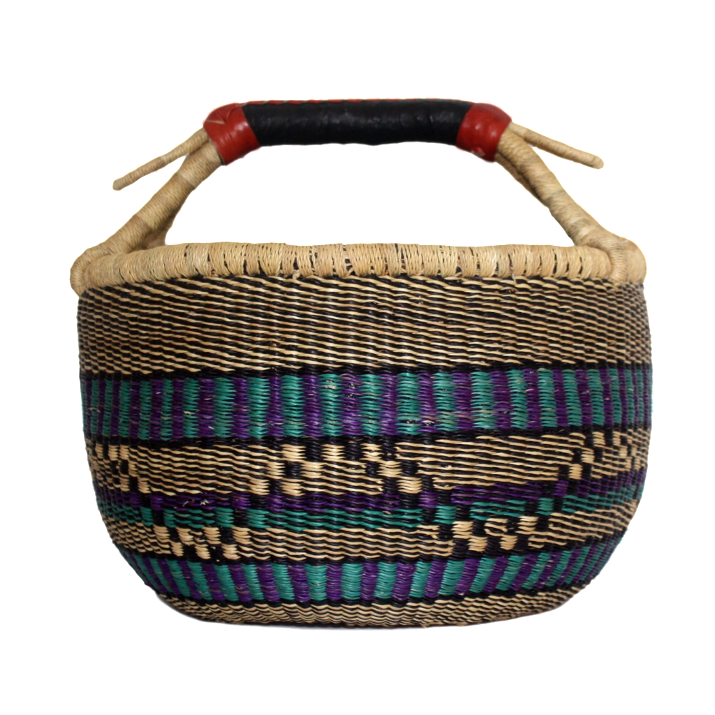 African Basket, Storage Basket, Bolga Basket, Woven Basket, Ethnic, Boho, Medium,  BABAMB96-15