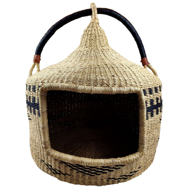 Turret Cat Basket - Bolga Basket, Pet Bed, Cat Bed - BABACAT3